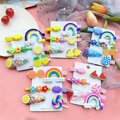 Girls Baby Fruit Hair Clips Snap Kid Hairpin Barrettes Hair Bow Accessories 6PCS