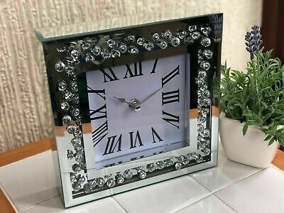 20cm JEWEL MIRRORED MANTLE CLOCK MIRROR FRAME BLING DIAMANTE MANTLE TABLE CLOCK