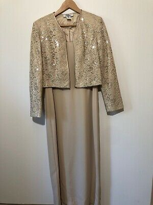 Patra Petite Womens Mother Of The Bride Dress And Jacket Ivory Size 12