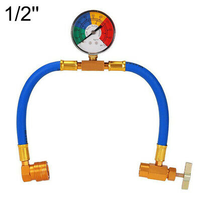 1 x Car Refrigerant Charging Pipe With Gauge Car Air Conditioning Charging Pipe