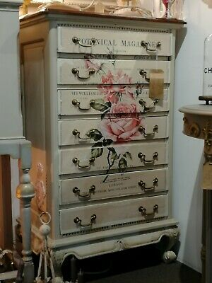 Painted Antique Chest Of Drawers Quality Furniture Original Upcycled