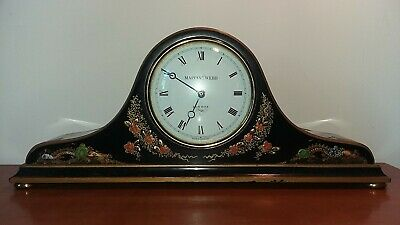 Vintage Mappin & Webb London mantel clock decorative Chinoiserie lacquer case