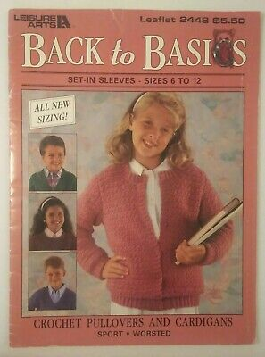 LEISURE ARTS #2419 Back To Basics KNIT PULLOVERS /& CARDIGANS Set-In Sleeves 42+