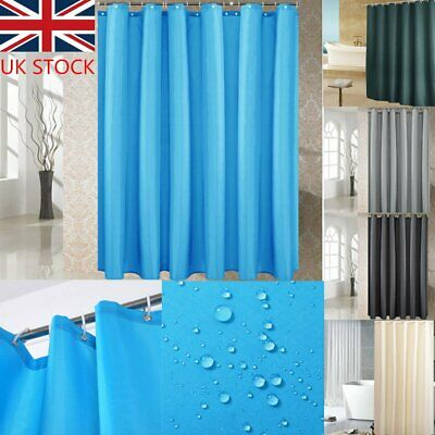 9 Great Colours Waterline Bathroom Plain Shower Curtain Inc 12 Matching Rings