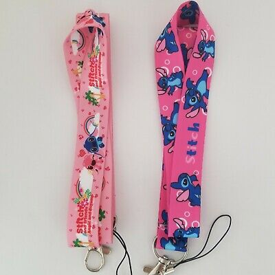 Lilo and Stitch Lanyard ID Keychain Badge Holder Hospital Office 2 Qty Pink