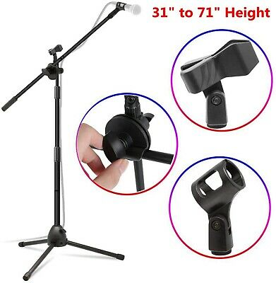 71in 360-degree Rotating Microphone Stand Dual Mic Clip Boom Arm Foldable Tripod