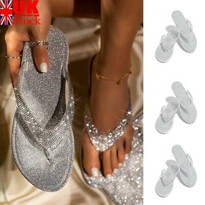Womens Ladies Bling Flat Post Summer Flip Flops Thong Toe Sandals Size 3-7 Uk