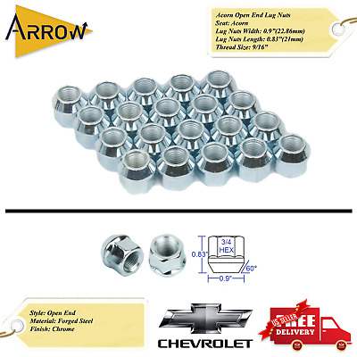 """32x OPEN END CHROME 9//16-18 ACORN LUG NUTS 1/"""" TALL 21MM HEX DODGE RAM FORD CHEVY"""