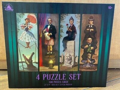 Disney Parks The Haunted Mansion 4 Puzzle Set Stretching Room Portraits - NEW