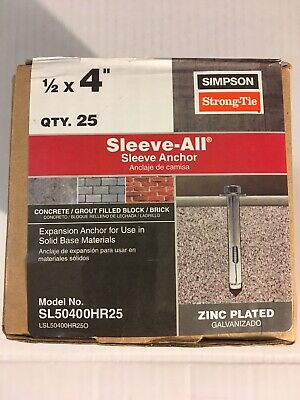 """Simpson Strong-Tie SL50300H Sleeve-All Anchor 1//2/"""" x 3/"""" Hex 25ct"""