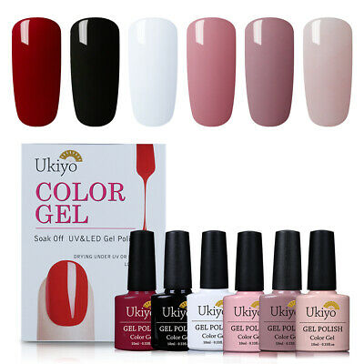 UKIYO Esmalte Semipermanente de France Soak Off UV LED Gel Manicura 6Colores Kit