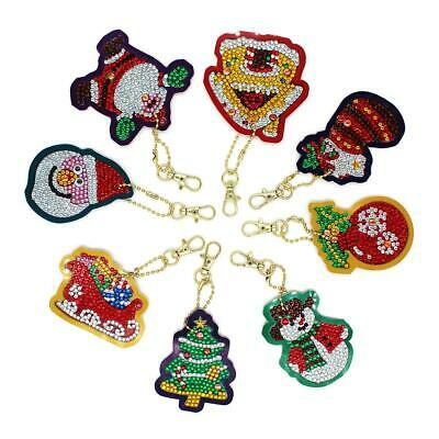 8pcs DIY Diamond Painting Special Xmas Pendant Key Chain Christmas Keyring Girls
