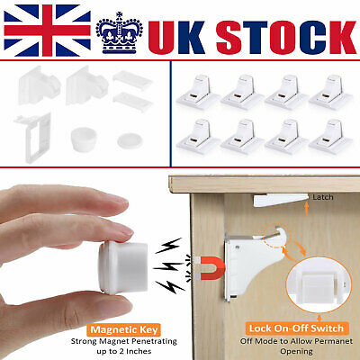 Invisible Child Safety Magnetic Lock Baby Pet Proof Cupboard Door Drawer Set UK
