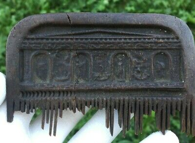 Late Roman Early Medieval Bone Comb With Relief - 400/500 Ad - Rare
