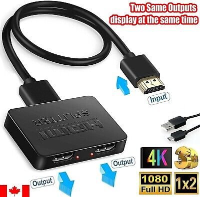 HDMI Splitter 1 Input 2 Output Dual Monitor 4K HD 3D Signal V1.4 Powered For DVD