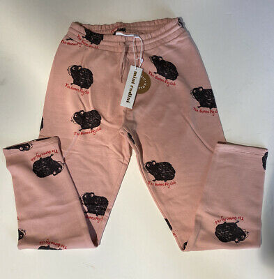 Nwt Mini Rodini Girl's The Guinea Pig Club Sweatpants Pink $69