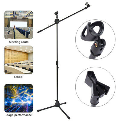 New 360-degree Rotating Microphone Stand Dual Mic Clip Boom Arm Foldable Tripod