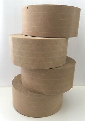 """4 Rolls 3"""" x 450"""" Reinforced Gummed Paper Tape (Water Activated)"""