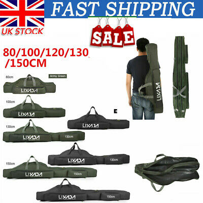 3 Layers Fishing Rod Carrier Canvas Pole Tools Storage Gear Tackle Bag Case B9E6