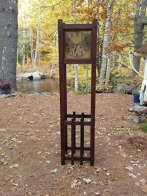 Antique Oak arts + crafts mission grandfather clock brass face Stickley era NICE