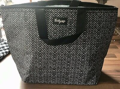 Black & White Lunch Bag With Insulated Lining Zip Fastening Washable