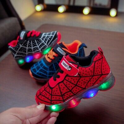 Spiderman Kids LED Light Shoes Luminous Sneakers Trainers Boys Girls Babys NEW