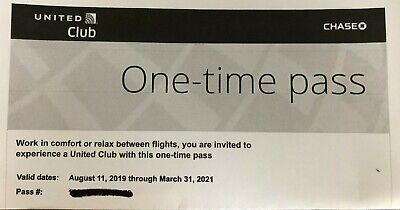 Two United Airlines Club One-time Passes (E-Delivery) Exp. 03/31/2021