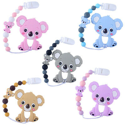 Koala Teether Baby Teething Silicone Beads Chew Pacifier Chain Clip Shower Gifts