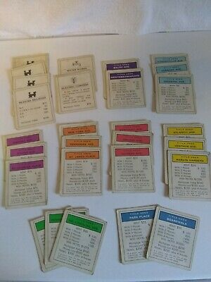 mix /'n/' match Title Deeds Vintage 1961 Monopoly Spares Property Cards
