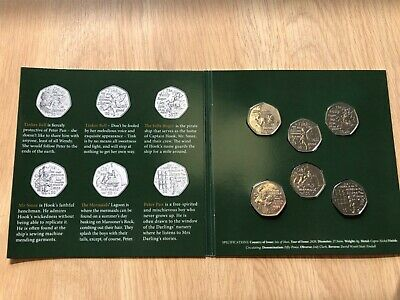 Isle of Man Peter Pan 50p coin Set - 6 coins in presentation Pack - Free Postage