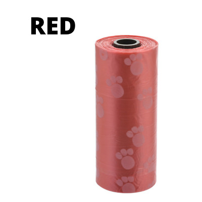 750 (25 rolls) Large strong dog poo bags, eco friendly, paw print design Red