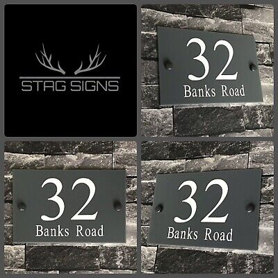 Personalised Grey Modern House Sign Number Address Plaque With Matching Fixings