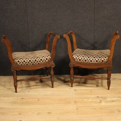 Pair Of Pews Italian Ancient Furniture Wooden Walnut For Living Room 800