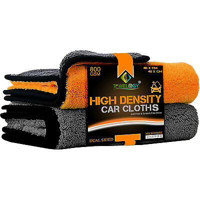 Towelogy® 2 x Microfibre Auto Car Cleaning Cloths 800gsm Washing Towels 60x30cm