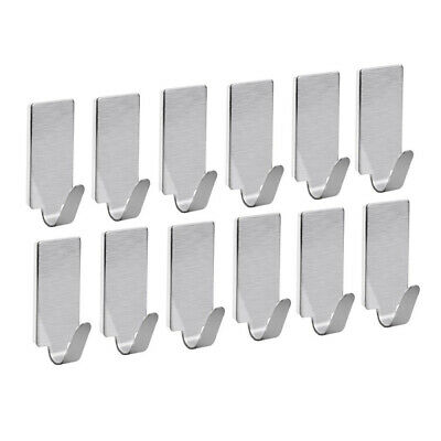 Heavy Duty Self Adhesive Hooks Hanger Stainless Steel Holder Rack Set