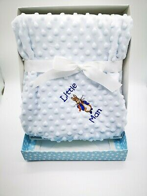 Personalised Luxury Baby Blanket Embroidered Boy Girl peter rabbit boxed gift
