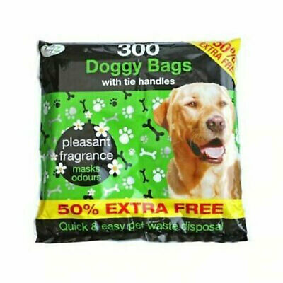 300 Disposable Doggy Bags Scented Dog Poo Waste With Tie Handles