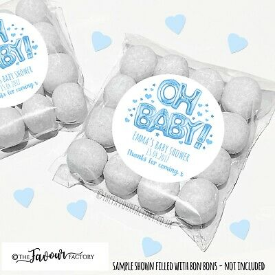 Baby Shower Favours Sweet Bags Kits Personalised Oh Baby Blue Balloons x12