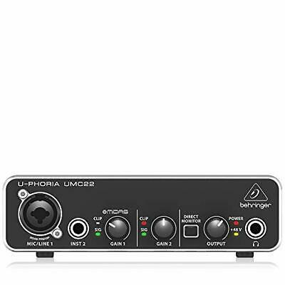 Behringer two inputs and two outputs USB audio interface UMC22 U-PHORIA