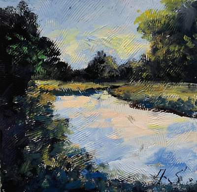 river among meadows impressionist LANDSCAPE PAINTING Semberecki