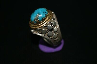 Big Beautiful Vintage Silver Turquoise Ring 150-200 Year Old Persian Design