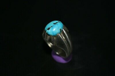Beautiful 100% Authentic Persian Silver Turquoise Ring with Beautiful Stone