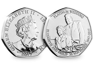 2017 Isle of Man Platinum Wedding - 40th Anniversary 50p coin - Uncirculated