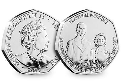 2017 Isle of Man Platinum Wedding - Royal Wedding 50p coin - Uncirculated