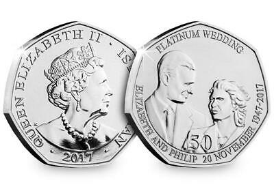 2017 Isle of Man Platinum Wedding - 50th Anniversary 50p coin - Uncirculated