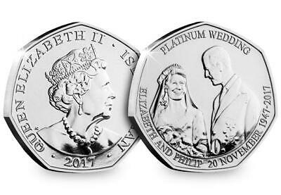 2017 Isle of Man Platinum Wedding - 70th Anniversary 50p coin - Uncirculated