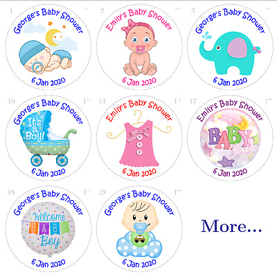 Personalised Baby Shower Favour Stickers,sweet cones,cello,party bags loot boxes