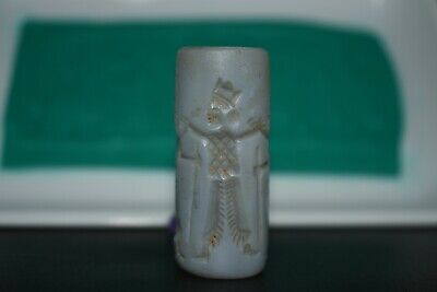 Rare Large Ancient Agate Stone Sasanian Cylinder Seal with Beautiful Engravings