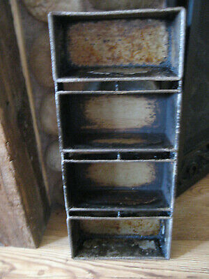 Farmhouse GRUNGY Country Ekco Bread Baking Strap Pan 4 Loaf Commercial USED