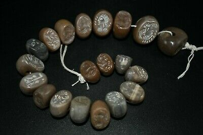 Cheap Lot Sale! 20 PCS Lovely Ancient Agate Stone Sasanian Designed Stamp Seal